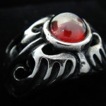 316L Stainless Steel Ring with Red CZ  - TR82