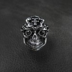 Skull Ring with Black CZ - TR78