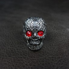 Skull Ring with Red CZ- TR58